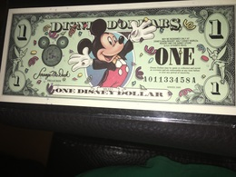 See Photographs. One Disney Dollar. Novelty Dollar Bill - USA