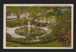 Fountain & Flower Beds Court House Square Joliet, IL - 1940s - Unused - Joliet