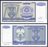 Kroatien - Croatia 10-Millionen Dinara Banknote 1993 Pick R12 UNC (1)   (25123 - Croazia