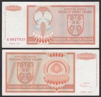 Kroatien - Croatia 1-Milliarde Dinara Banknote 1993 Pick R17 VF (3)  (25126 - Croazia