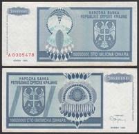 Kroatien - Croatia 100-Millionen Dinara Banknote 1993 Pick R15 VF (3)  (25125 - Croazia