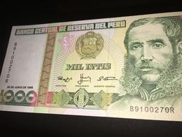 See Photos. Peru 1000 Intis Banknote 1988 Seems Uncirculated. - Pérou