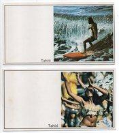 Polynésie Française -- TAHITI  - Bonne Année ---Lot De 2 Cartes Doubles (surf, Vahiné)...      Ft  16cm X 9cm ..à Saisir - French Polynesia