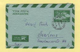 Israel - Aerogramme - Destination SAAR - 22-9-1956 - Covers & Documents