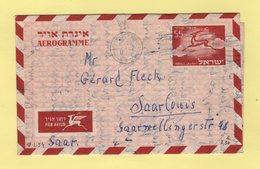 Israel - Aerogramme - Destination SAAR - 18-1-1954 - Covers & Documents