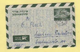 Israel - Aerogramme - Destination SAAR - 10-5-1956 - Covers & Documents
