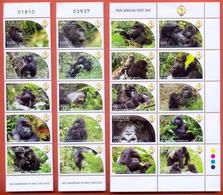 UGANDA 2011 Gorillas Wildlife PAPU Postal Union MNH 20 Stamps Set Complete OUGANDA - Uganda (1962-...)