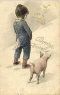 Illustrateur Jeune Garcon Faisant Pipi Dans La Neige Pour Maquer Bonne Année Devant Un Cochon RV TUCK - Scenes & Landscapes