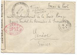 LETTRE FRANC DE PORT 92TER CAMP DU RUCHARD 24.1.1940 INDRE ET LOIR POUR GENEVE + SECTION DES ETRANGER + PRISONNIERS RR - Marcophilie (Lettres)