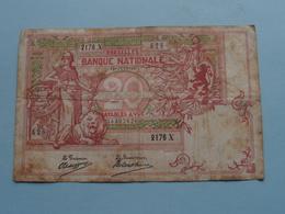 20 Franken ( Type 1894 Vermiljoen - 2176 - 626 ) 13 Juin 13 De Lantsheere-Tschaggeny ( Zie/voir Photo ) Morin 21a ! - [ 2] 1831-... : Belgian Kingdom