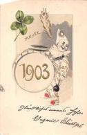 ¤¤  -  ILLUSTRATEUR    -  Cirque  -  Clown   -  Bonne Année 1903  -  Instrument Musique  -  Grosse Caisse   -  ¤¤ - Circus