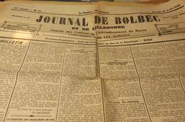JOURNAL DE BOLBEC 25 0/8 1923 NORVILLE QUILLEBEUF SUR SEINE PARC D ANXTOT - Journaux - Quotidiens