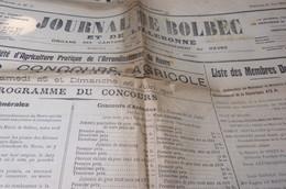 JOURNAL DE BOLBEC 12 JUIN 1910 CONCOURS AGRICOLE GONNEVILLE LA MALLET SAINT MARTIN DU MANOIR - Journaux - Quotidiens