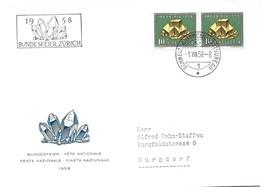 69 - 99 - Enveloppe Suisse Avec Timbres Minéraux Et Oblit Spéciale Bundesfeier Zürich 1958 - Minéraux