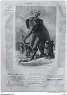 L'Inde Des Rajahs - Condamné Exécuté Par Un éléphant - Page Original 1871 - Historical Documents