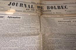 JOURNAL DE BOLBEC ET DE LILLEBONNE 6 FEVRIER 1937  GRUCHET LE VALASSE LANQUETOT ROUVILLE - Journaux - Quotidiens