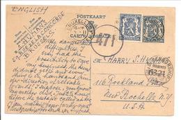 Postkaart Bruxelles 5.2.45 Vers USA Double Censure Belge + USA - WW II