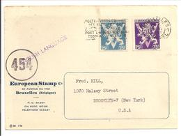 Postkaart Brussel 2.6.45 Vers USA Heraldieke Leeuw 25c + 75c CENSURÉE - WW II