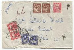 GANDON 1FR50 + IRIS 2FRX2 PNEUMATIQUE PARIS 1945 + TAXE 1FR50X2+1FRX2 - 1945-54 Marianne De Gandon