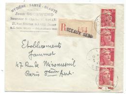 GANDON 1FR50 BANDE DE 4 LETTRE REC SCEAUX SEINE 2.6.1945 AU TARIF - 1945-54 Marianne De Gandon