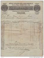Facture Labérie & Autefage Confiseurs Et Distillateurs Toulouse 30 Septembre 1882 Pour Limonadier à Limoux - Facturas