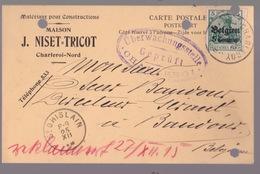 OC 2 -Carte Privée Entete   Matériaux De Construction Maison. J.Niset-Tricot. Ccharleroi 25/12/15 Voir Scan. Cachets - Oorlog 14-18