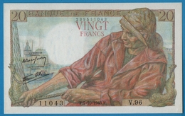 FRANCE 20 FRANCS 7.10.1943  PêcheurSerial# V.96 11043  F. #13.7 - 20 F 1942-1950 ''Pêcheur''