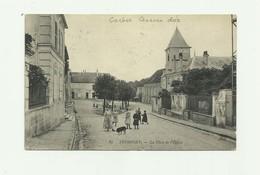 77 - THORIGNY - La Place De L'église Animée Cachet Censure Dos Bon état ( Voir Scan ) - Altri Comuni