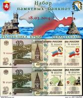 * Russia 10 Rubles ! Set 4 Notes ! Commemorative Crimea 2014 - 2015 - Rusland