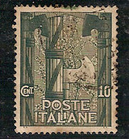 """(Fb).Regno.V.E.III.1923.-10c Verde """"Marcia Su Roma"""",usato,ben Centrato (5-20) - 1900-44 Vittorio Emanuele III"""