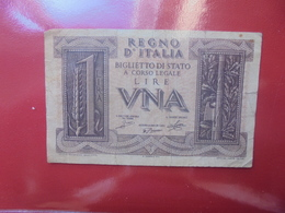ITALIE 1 LIRE 1939 CIRCULER - [ 1] …-1946: Königreich