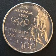 SAINT MARIN - SAN MARINO - 100 LIRE 1980 - XXII Jeux Olympique - Olympiade - KM 108 - Saint-Marin