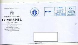 Demi-lettre Flamme  Ema Le Mesnil Recoltant Proprietaire Champagne - Poststempel (Briefe)