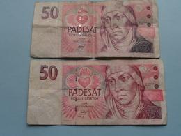 2 X 50 PADESAT Korun Ceskych 1993 & 1994 ( Voir Photo Pour Détail Svp / For Grade, Please See Photo ) ! - Czech Republic