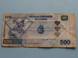 3 X 500 Francs Banque Centrale Du CONGO 04-01-2002 ( Voir Photo Pour Détail Svp / For Grade, Please See Photo ) ! - Zonder Classificatie