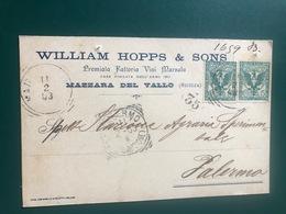MAZARA DEL VALLO (TRAPANI)  PREMIATA FATTORIA VINI MARSALA WILLIAM HOPPS & SONS  1903  UVA VINO - Mazara Del Vallo