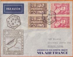Lettre Par Avion Inauguration Du Service Hebdomadaire Amérique Du Sud Obl. Paris 96 C Aiir France Le 4/1/36 - Luftpost