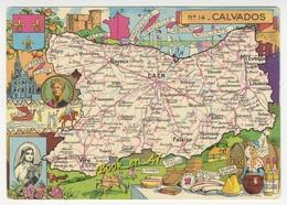 {38475} 14 Calvados , Carte Et Illustrations - Cartes Géographiques