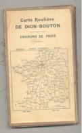 """Carte Routière Toilée éditée Par Les Automobiles, Oldtimer """" DION - BOUTON """"  Environs De Paris - Cartes Routières"""