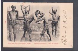 Types Caucase Lutteurs Persans Persian Wrestlers 1903 Old Postcard RARE - Iran