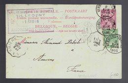 CP 21 II + COB 56 De SC Ambulant Verviers-Ostende 2 AVR 1896 => Amiens + Cachets Français Ecrite De Andrimont - Marcophilie