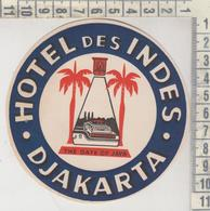 ETICHETTA LABEL ETIQUETTE  LAGGUAGE HOTEL DES INDES DJAKARTA - Pubblicitari