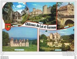 Cpm...47..( Lot Et Garonne)..CHATEAUX DU LOT ET GARONNE..CASTELJALOUX..NERAC..LAUZUN..DURAS..BONAG UIL.. - Frankrijk