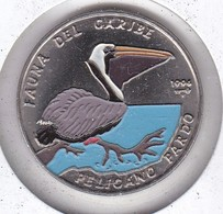 MONEDA DE CUBA DE 1 PESO DEL AÑO 1994 FAUNA CARIBE - PELICANO -PAJARO-BIRD (COIN) NUEVA-MINT - Cuba