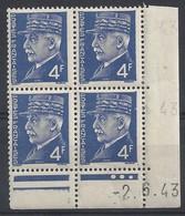 PETAIN N° 521A - Bloc De 4 COIN DATE - NEUF SANS CHARNIERE -  2-6-43 - 1940-1949