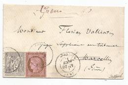 HAUTE SAONE - GRAY - Càd T.17 S/TP N°54 Cérès Et N°66 Sage - 1876 - Mixte - 1871-1875 Ceres