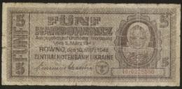 Ukraine 5 Karbovanez 1942 Pick 51 VG - Oekraïne