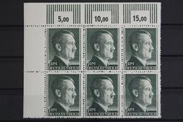 Deutsches Reich, MiNr. 799 B, 6er Block, Ecke Li. Oben, Ndgz, Postfrisch / MNH - Deutschland