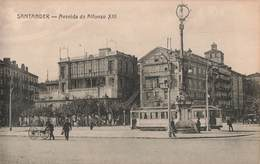 Espagne Santander Avenida De Alfonso XIII Tram Tramway Cpa Carte Animée Edit Fuertes - Cantabria (Santander)