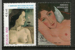 ITALY. Breast Cancer Fund Fight & Young Woman By Amedeo Modigliani 2020 + Lucarella Masetti Mint Stamp ** - Medicina